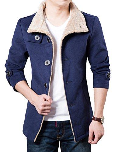 Brinny Herren Trenchcoat Casual Mantel Fleece Parka Winter Warme Jacke Slim Fit Blau