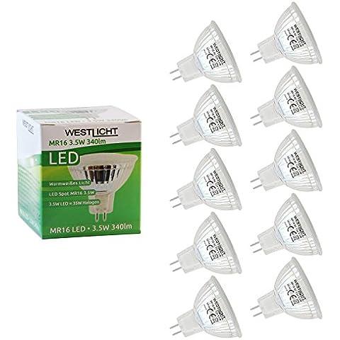 Westlicht MR16 3.5W GU5.3| Kit de ahorro 10x | Bombillas LED | AC o DC 12V 3.5W 120° 340lm cálido blanco