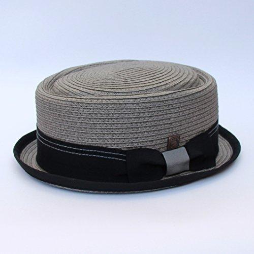 Dasmarca Papier Rico tressé Été Paille Telescope Couronne Retro Porkpie Hat