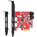 Inateck USB 3.0 PCIe Karte, 1 20 Pin USB3.0 intern Controller mit Low Profile, Keine Stromanbindung mehr erforderlich, Versorgung über den PCI-E Einschub