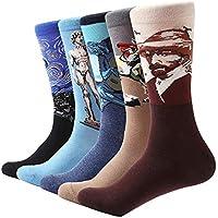 TDPYT 5 Pares/Hombres Calcetines Divertidos Retro Pintura Al Óleo De Los Hombres De Negocios Colorido Equipo Calcetín Feliz Regalo Calcetines
