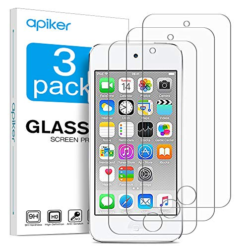 apiker [3 Stück] Schutzfolie für iPod Touch 5/6/7 Panzerglas, 9H Härte, Bläschenfrei, 2.5D abgerundet Kante, Ultra Klar