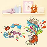 HCCY Der kreative Farbe schuhe kinder Zimmer an der Wand Aufkleber die Einhaltung der abnehmbaren Selbstklebende kindergarten Cartoon 86 * 56 cm Poster verzieren Personalisieren
