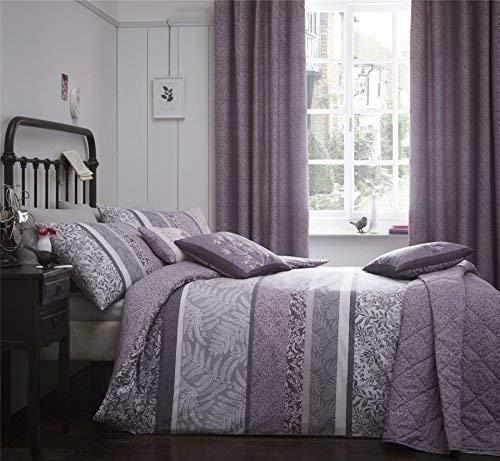 , Floral Blätter Heather Purple Lila Doppel Bettbezug