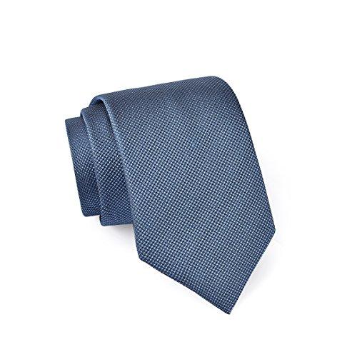 MASSI MORINO Seidenkrawatten für Herren, handgenähte Krawatte Seide in verschiedenen Farben - schmale 6,5 cm Slim Fit Herrenkrawatte (Dunkelblau - fein schwarz)