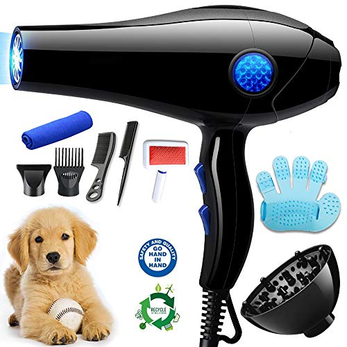 YLXD Soffiatore Phon Asciugatrice Riscaldatore per Cani/Gatti 2800W, velocità Regolabili, Meno Rumore, Asciugacapelli per Cani per Uso Privato e Professionale,Luce Blu,Sterilizzazione