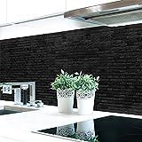 Küchenrückwand Ziegelmauer Anthrazit Premium Hart-PVC 0,4 mm selbstklebend 220x51cm