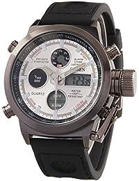 Alienwork DualTime Reloj Digital- Analógico Cronógrafo LCD Multi-función Silicona blanco negro OS.AD1601-02