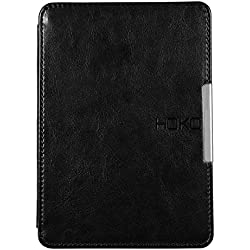 KINDLE PAPERWHITE Leather Flip Case Cover with magnetic closure (Black) (auto wake up/sleep feature)
