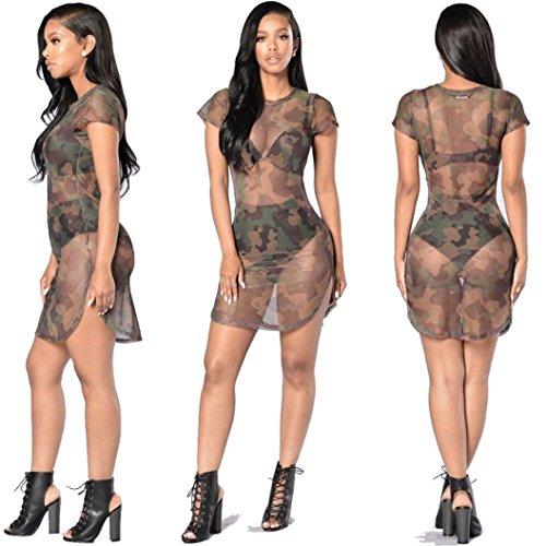 Damen Mesh Minirock Rosennie Frauen Sexy Bodycon Camouflage Durchsichtig Dress Abendkleid Ladies Kurzarm Militärische T-Shirt Kleid Mädchen Reizvolle Transparent Versuchung Sommerkleider (L, Tarnung)