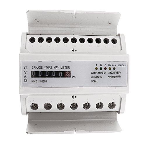 FLAMEER Professionelle Digitale Stromzähler Elektrozähler Strom Zähler Wattmeter - 3 Phase 4 Wire 10(40) A -