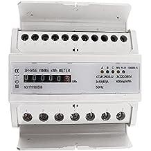 FLAMEER Submedidor De Electricidad Monofásico/Trifásico KWh Digital Tipo De Potencia del Riel DIN -