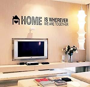 """ufengke® """"Home is wherever we are together"""" Stickers Muraux de Citations et Proverbes, Salon Salle de Séjour Chambre à Coucher Décalcomanies Murales Autocollants Amovibles"""