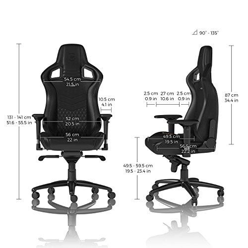noblechairs EPIC Chaise de Gaming - Chaise de Bureau - Cuir Véritable - 120 kg - Inclinable - Coussin de Soutien Lombaire - Design du Siège de Course - Noir