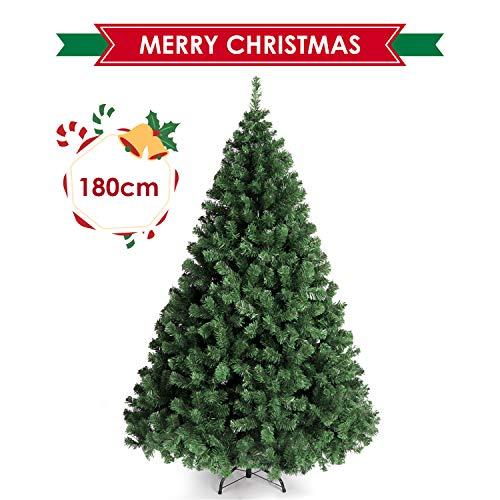 amzdeal 180cm Sapin de Noël - avec Épines Touffues et 4 Pieds en Métal, Sapin Artificiel de Noël...