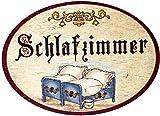 Kaltner Präsente Geschenkidee - Türschild Nostalgie aus Holz im Antik Design Schriftzug Schlafzimmer (Ø 9 cm)