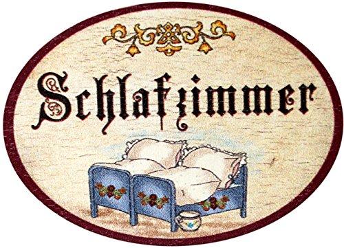 Kaltner Präsente Geschenkidee - Türschild Nostalgie aus Holz im Antik Design SCHLAFZIMMER