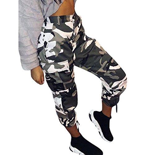 JYJM Damen Hose /Denimhose Größen S - 5XL, High Waist Strech Hosen Casual | Sporthose in Camouflage | Baggy zum Tanzen | Casual Cargo Joggerhose Hip Hop Rockhose (2XL, Weiß)