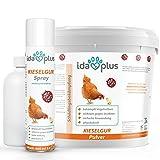 IdaPlus - Kieselgur / Kieselerde Anti Milben - Premium SET - Pulver (12 Liter) & Spray (Sprüher) - Diatomeenerde - Mittel gegen rote Vogelmilbe & Insekten für Hühner (Huhn) & Geflügel sowie Nager (Hase, Kaninchen, Meerschweinchen) inkl. praktischer Stäube-Flasche