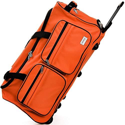 DEUBA Reisetasche | mit Trolleyfunktion | Rollen mit Kugellager | Teleskopgriff | abschließbar -【Farb-und Größenauswahl】 Sporttasche Reisetrolley Gepäcktasche, Orange, 85L = 70 x 36 x 34 cm (LxBxH)