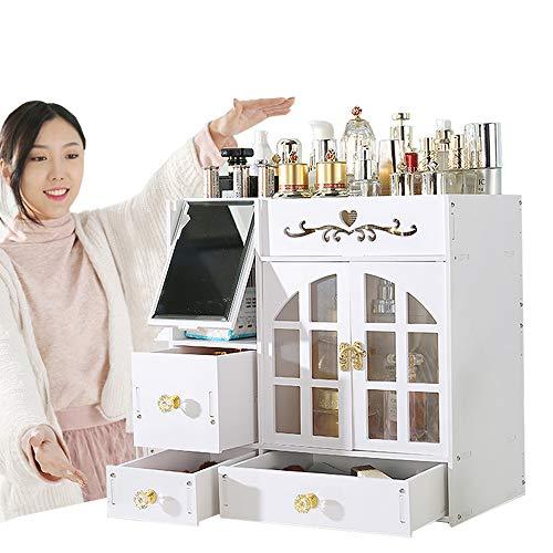 Benfa Organizador cosmético Grande Caja de almacenaje del Maquillaje de Madera con el Espejo...