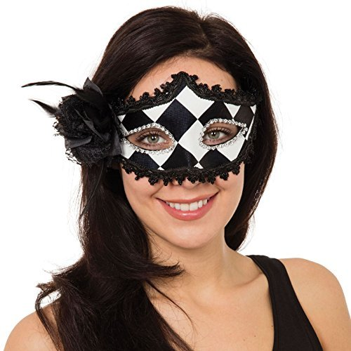 Ladies Harlequin Jester Black White Eye Mask Harley Gothic Rose Masquerade Carnival Venetian Halloween Black Gothic Fancy Dress by Fancy Dress VIP