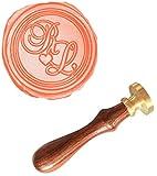 MDLG Custom Custom Doppelter Initialen Monogramm Love Herz Buchstaben vintage Personalisierte Bild Buchstabe Logo Hochzeit Einladung Wachs Siegel Stempel Palisander Griff Set