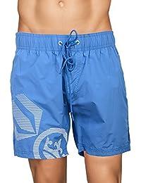 Crosshatch Mens Mesh Lined Swimming Shorts (Large, Ramirez - Daphne - Blue)