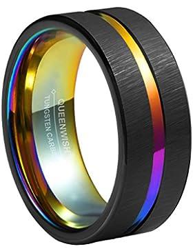 8mm Regenbogen Hochzeitsring,schwarz gebürstet & Regenbogen gerillt Hochzeit Ringe,Comfort Fit Wolfram poliert...