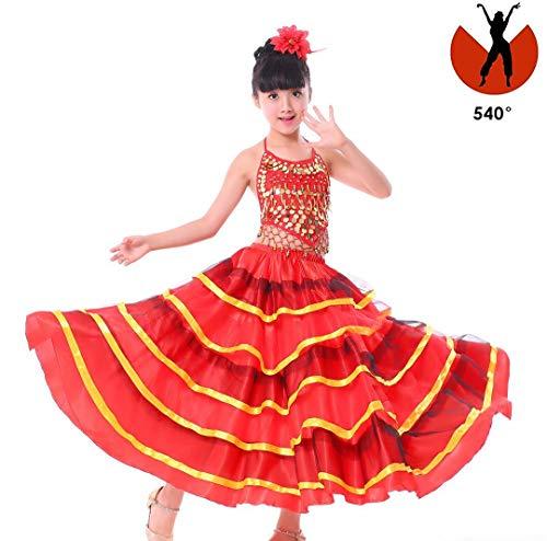 SMACO Spanisches Kostüm Mädchen Rot Langer Flamenco Rock Gesellschaftstanz Rock für Kinder Mädchen Bauchtanz Rock für Kinder,540°,L