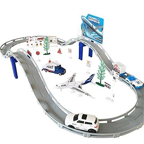 Circuit de Voiture Aéroport Playset Voiture Avion Miniature Ensemble Jouet
