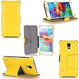 Samsung Galaxy S5 Hülle gelb Tasche Cover mit Stand (32/64/128 GB) - Zubehör Etui Galaxy SV Flip Case Schutzhülle (Real Leder) Wifi/3G/4G/LTE - XEPTIO accessoires Echtleder - Vorbestellen