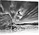 Monocrome, Snowboard Sprung, Extremsport, Format: 100x70 auf Leinwand, XXL riesige Bilder fertig gerahmt mit Keilrahmen, Kunstdruck auf Wandbild mit Rahmen, günstiger als Gemälde oder Ölbild, kein Poster oder Plakat