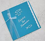 5 Einladungskarten zur Kommunion Einladung incl. Umschlag Schriftzug aquablau