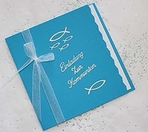 5 einladungskarten zur kommunion einladung incl umschlag schriftzug aquablau silber handarbeit. Black Bedroom Furniture Sets. Home Design Ideas