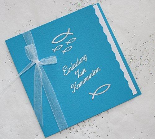 5 Einladungskarten zur Kommunion Einladung incl. Umschlag Schriftzug aquablau/silber*Handarbeit*