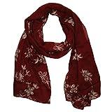 MANUMAR Schal für Damen | feines Hals-Tuch in weinrot mit gesticktem Blumen Motiv als perfektes Herbst Winter Accessoire | Stick | Damen-Schal | Stola | Mode-Schal | Das ideale Geschenk für Frauen