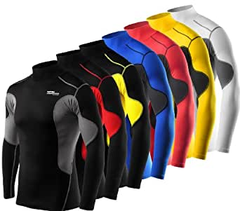 Mens & Boys TCA SuperThermal Compression Base Layer Top Long Sleeve Thermal Under Shirt - Mock Neck - Black/Yellow Small Boy (6-8 Years)