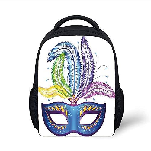 Mardi Gras,Blue Ornate Venetian Festival Mask with Feathers Masquerade Parade Preparations,Multicolor Plain Bookbag Travel Daypack ()