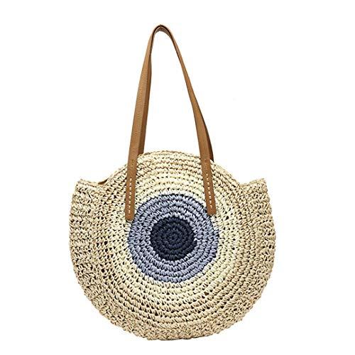 Beige Handtaschen Stroh (KOIDFJHA Runde Stroh Taschen Frauen Sommer Rattan Tasche Handarbeit gewebt Strand umhängetasche Kreis böhmen Handtasche Beige)