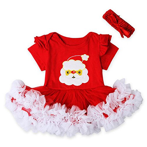 KINDOYO Baby Mädchen Weihnachten Spitze Kleid Kleinkind Prinzessin Fancy Party Kostüm Spielanzug Tanz Rock Santa New Year Kleid Outfits Kinder Rock Gesetzt Set (Santa Rock Kostüm)