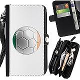 STPlus Bandera y balón irlandeses del equipo de fútbol de República de Irlanda Monedero Con Correa y Cremallera Carcasa Funda para Sony Xperia M5 / Xperia M5 Dual