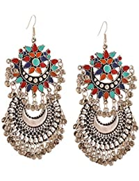 Crunchy Fashion Jewellery Afghani Tribal Oxidised Silver Bohemian Earrings for Women