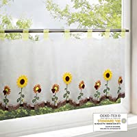 Visillo GIRASOL para cocina, baño y habitación infantil / Cortina con motivo flores / 45x115 cm / Cortina de bar moderna y transparente