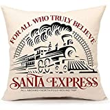 WEURIGEF Funda de cojín de Navidad Santa Express Train Throw Pillow Funda de cojín de Navidad para sofá Sofá 45 * 45 cm Lino de algodón