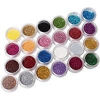 Ardisle - 24 macetas de colores Glitter Paillette de manicura uñas pigmento para brillo Sparkle brillante pelo brillante polvo