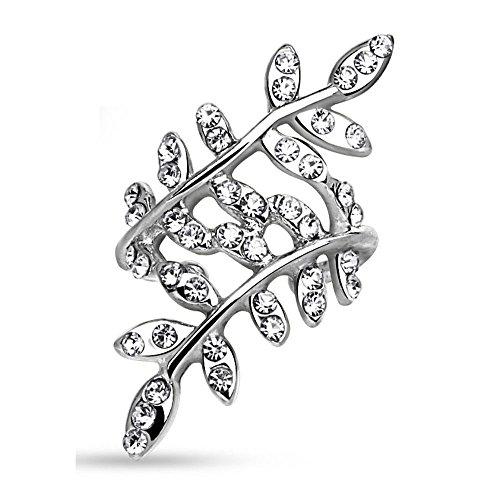 Bungsa CC Ear Cuff Kristallblätter Ohrstecker silber für Damen (Conch Fake Piercing Ring Clip Non Piercing Ohrringe Ohrhänger Ohrschmuck Ohrklemmen Frauen Herren Mode)