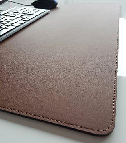 Schreibtischunterlage Soft Lux Leder 70 x 50 Braun mit Braune Naht