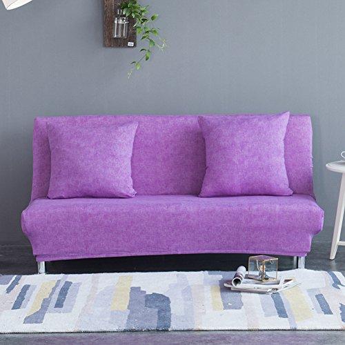Copridivano senza braccioli, in lino, colore uniforme, tessuto elasticizzato, fodera divano, protezione seduta, poliestere spandex, divano letto pieghevole senza braccioli, purple, m:160-195cm