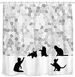 Sunlit Duschvorhang, Motiv Schwarze Katze und Grauer Mosaik-Mosaik-Stoff Grau und Weiß